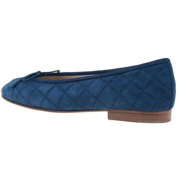 Chanel Blue Quilted Suede CC Ballet Flats Size 38