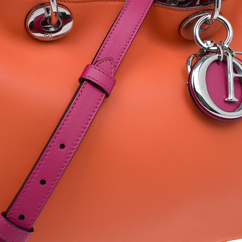 Dior Orange/Pink Tricolor Calfskin Leather Medium Diorissimo Tote Bag
