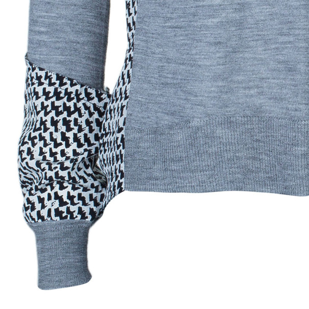 Diane Von Furstenberg Austine Grey Printed Sweater Top S
