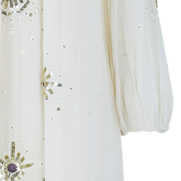 Temperley London Beige Embellished Chiffon Dress M