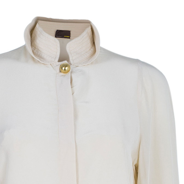 Fendi Beige Silk Collared Top M