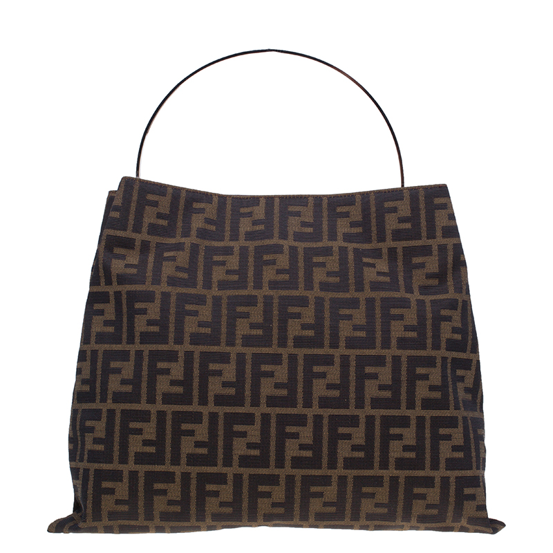 Fendi Brown Zucca Metal Handle Tote Bag