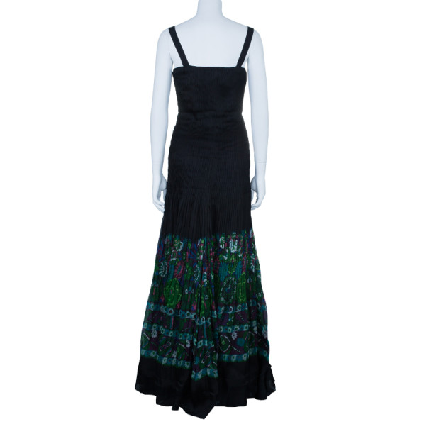 Roberto Cavalli Pleated Bustier Floral Silk Gown M