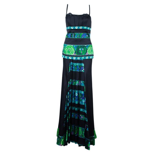 Roberto Cavalli Printed Paneled Top And Skirt Set M