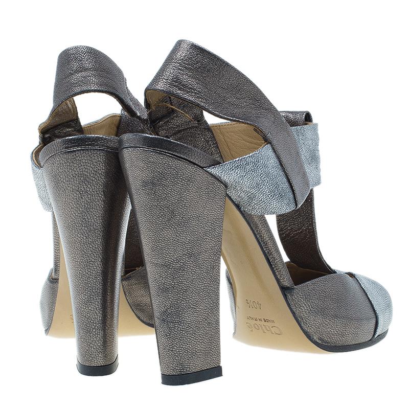 Chloe Metallic Leather T Strap Pumps Size 40.5
