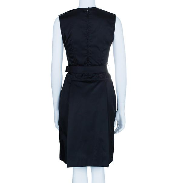 Prada Black Belted Shift Dress S