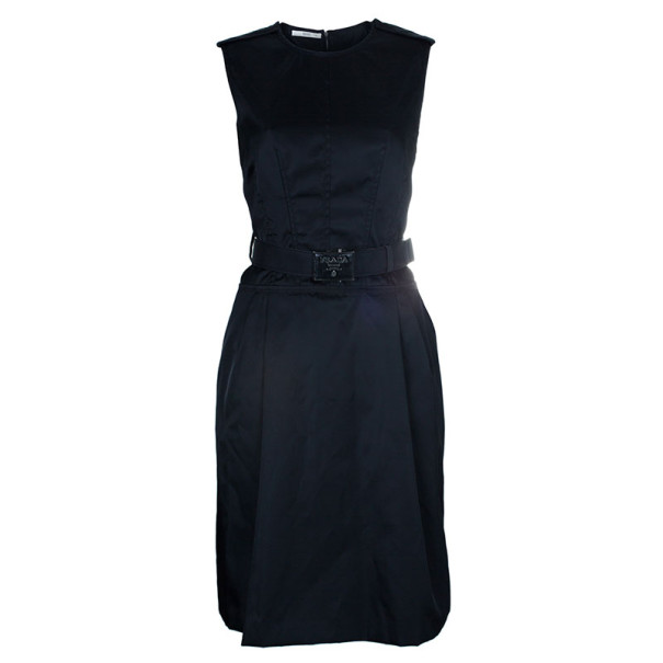 Prada Black Belted Shift Dress S