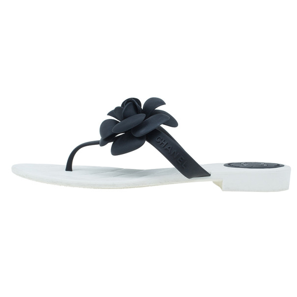 Chanel Black Camellia Thong Sandals Size 37