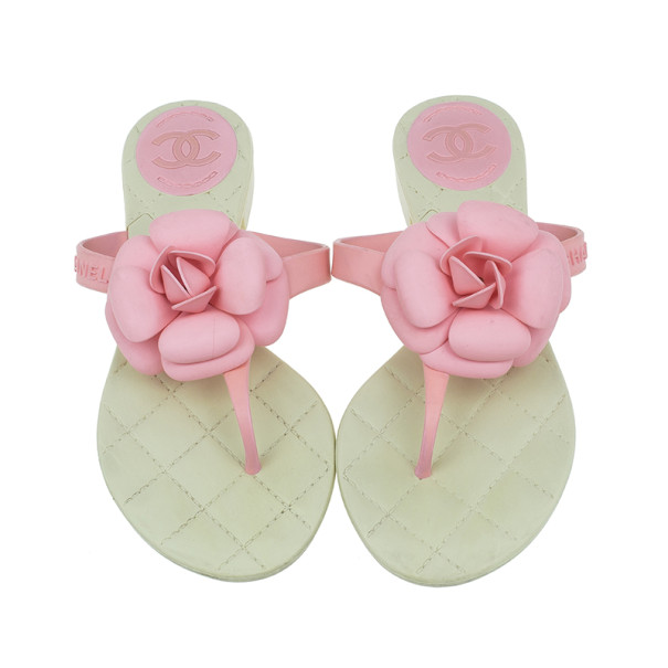 Chanel Pink Camellia Thong Sandals Size 37