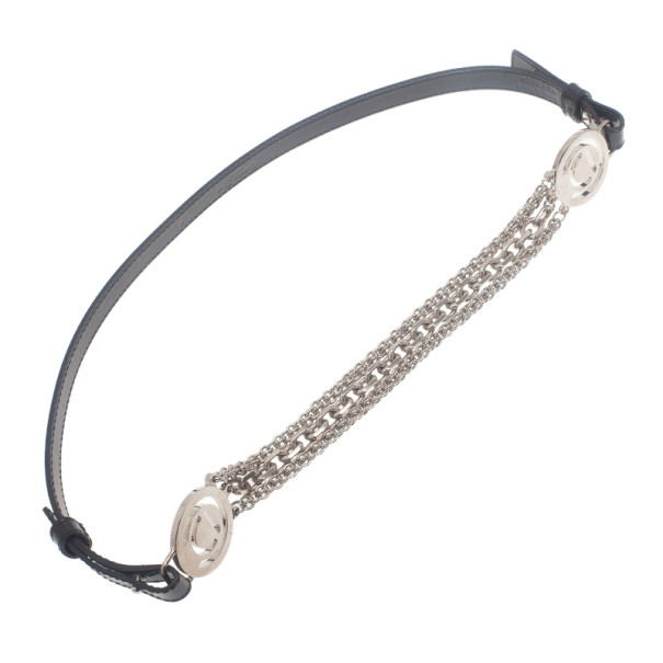 Dior Black Patent Chain Detail Waist Belt 90CM