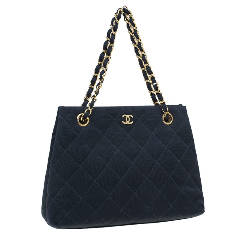Chanel Black Fabric Vintage Small Tote Bag