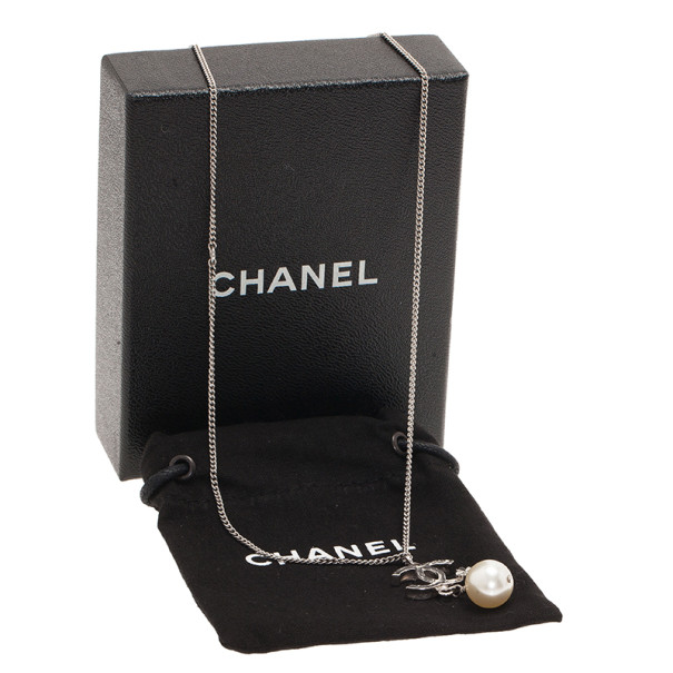 Chanel CC Logo Pearl Four Leaves Necklace