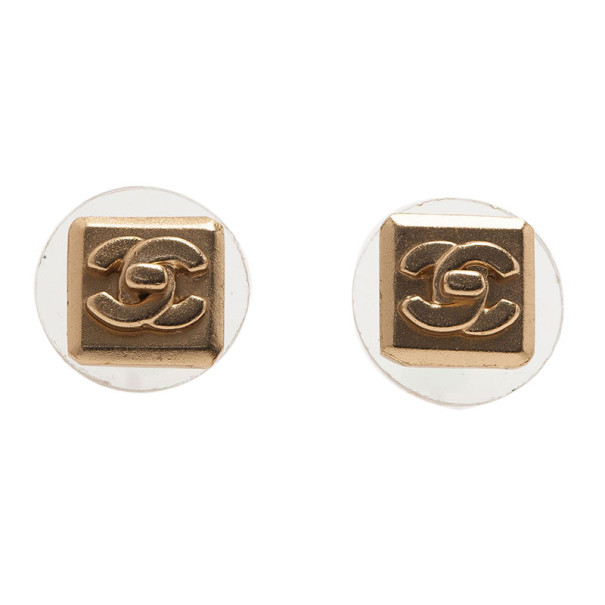 Chanel Square Turnlock CC Logo Pierced Earrings