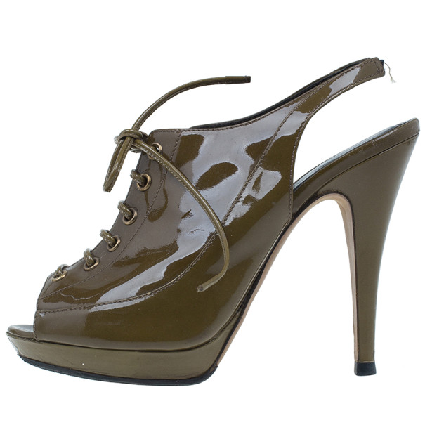 Burberry Green Patent Lace Up Slingback Sandals Size 39