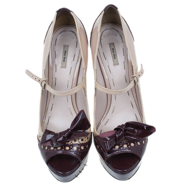 Miu Miu Two Tone Patent Bow Mary Jane Platform Pumps Size 38.5
