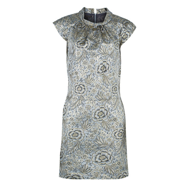 Burberry Gold Brocade Shift Dress M