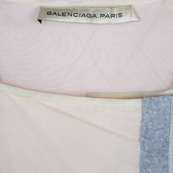 Balenciaga Drop Waist Mixed Fabric Dress Coat S
