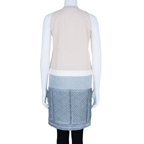 Balenciaga Drop Waist Mixed Fabric Dress Coat S