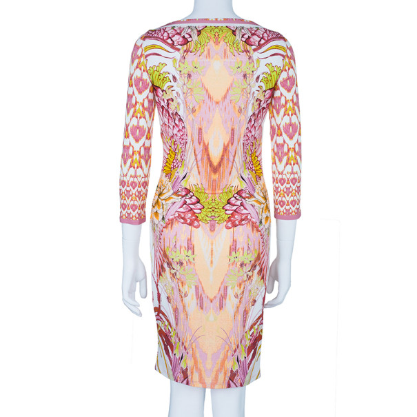 Roberto Cavalli Abstract Pink Printed Shift Dress S