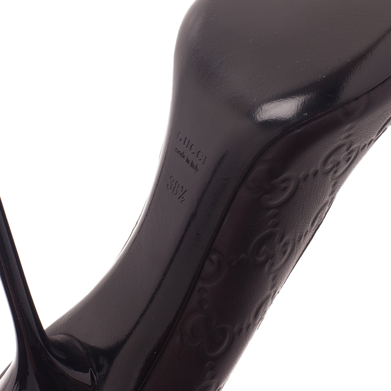 Gucci Dark Brown Guccissima Leather Pointed Toe Pumps Size 38.5