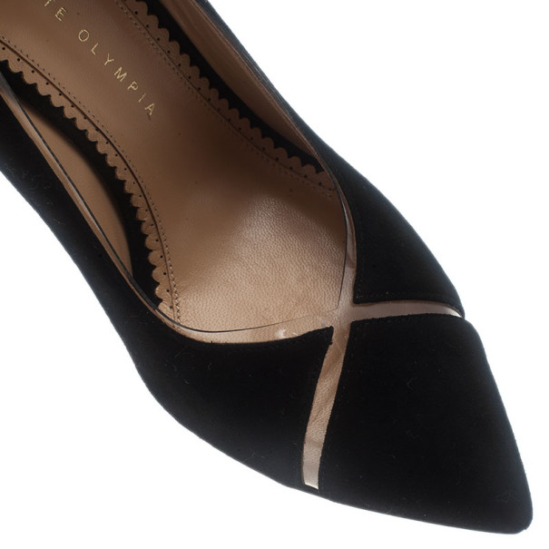 Charlotte Olympia Black Suede PVC Trimmed Natalie Pumps Size 40
