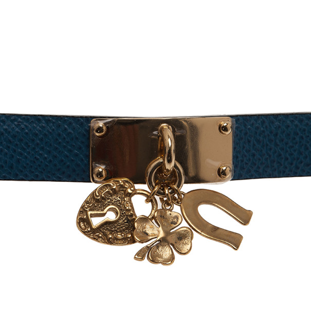Dolce and Gabbana Good Luck Charms Blue Leather Bracelet M