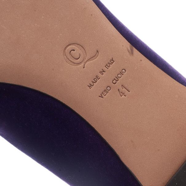 Alexander McQueen Purple Velvet Skull Smoking Slippers Size 41