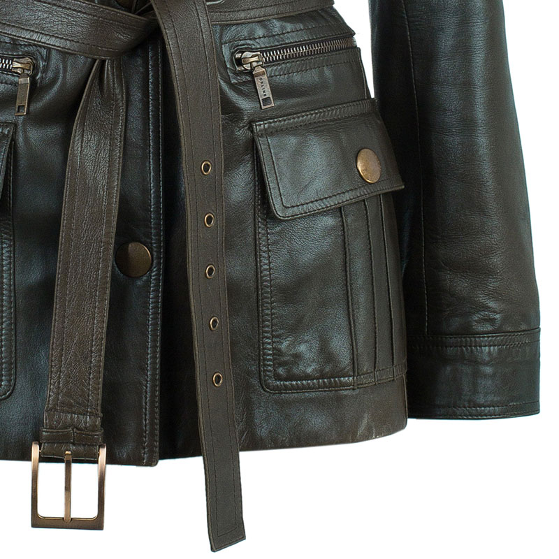 Celine Brown Leather Riding Jacket S