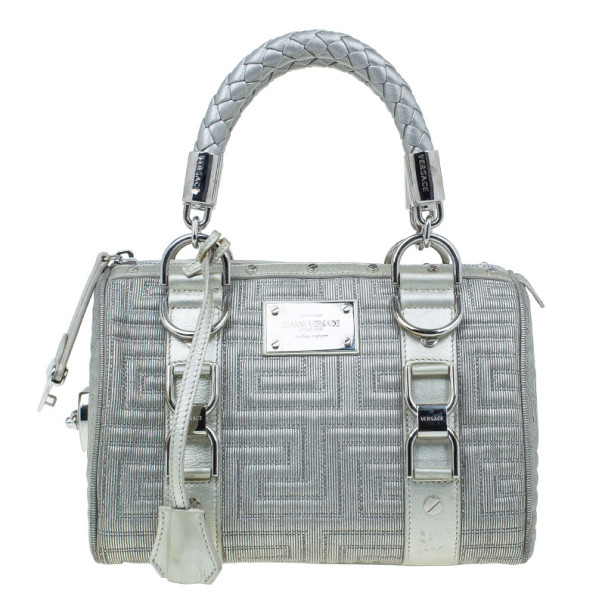 Versace Metallic Leather Quilted Snap Out of It Bag