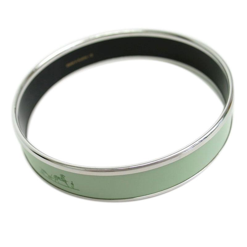 Hermes Caleche Wide Green Enamel Palladium Plated Bracelet