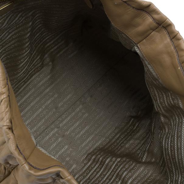 Prada Beige Leather Large Nappa Gaufre Tote