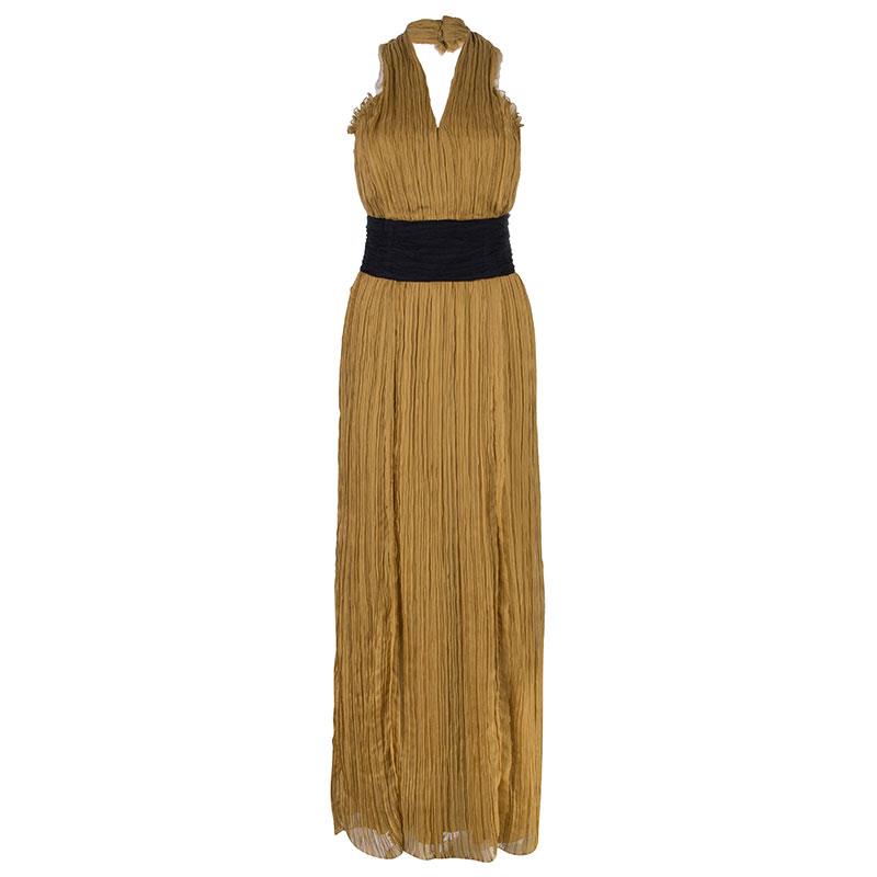 Alberta Ferretti Mustard Chiffon Pleated Gown M