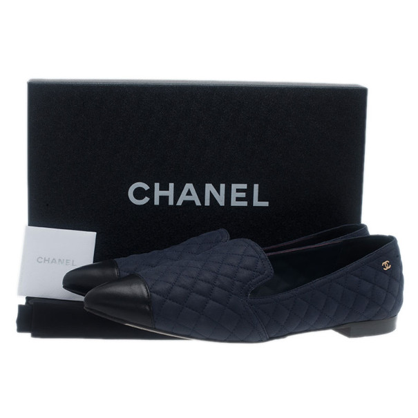 Chanel Blue Quilted Leather Smoking Slippers Size 37.5