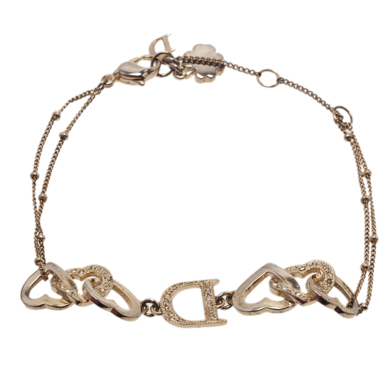 Dior Interlocking Heart Crystal Gold Tone Bracelet