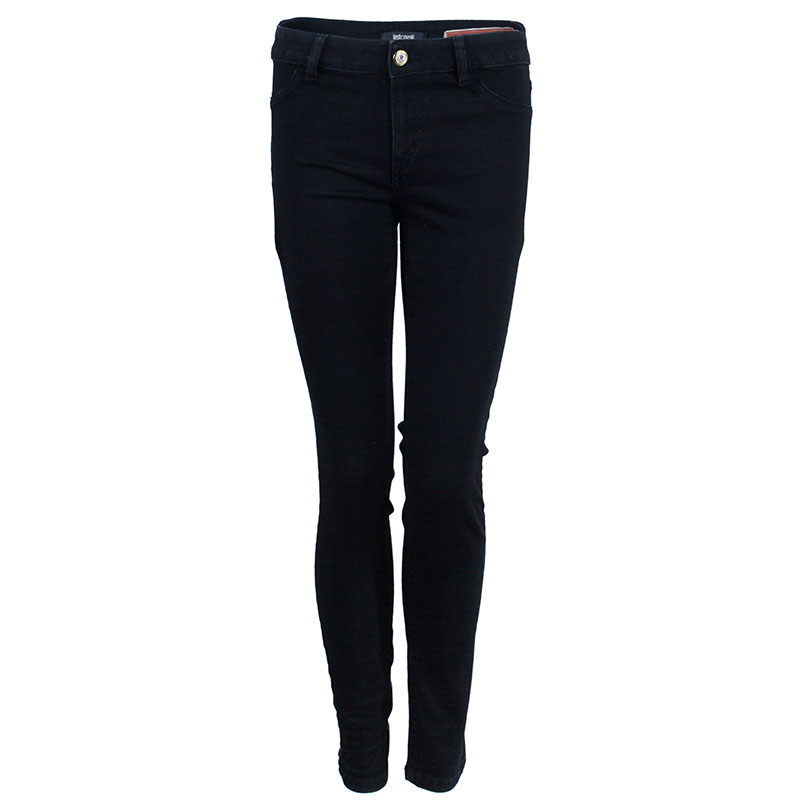 Just Cavalli Black Embellished Pocket Skinny Jeans M