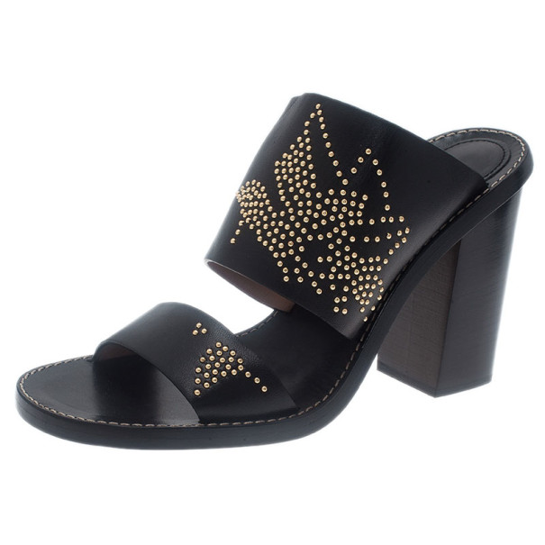 Chloe Black Leather Studded Sandals Size 39