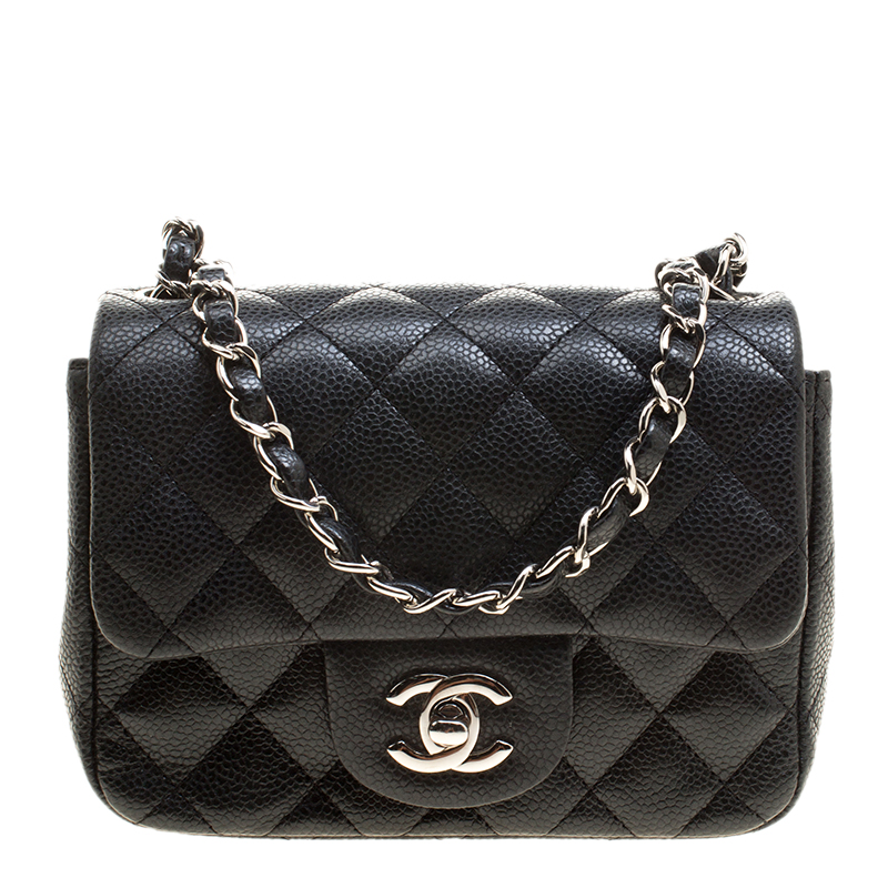 d67d4f3ab521e8 Chanel Black Quilted Leather Mini Square Classic Flap Bag. nextprev.  prevnext