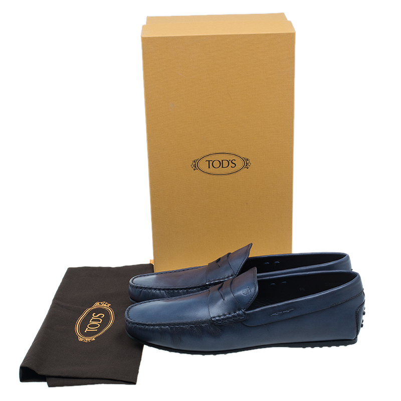 Tod's Blue Leather Loafers Size 43.5