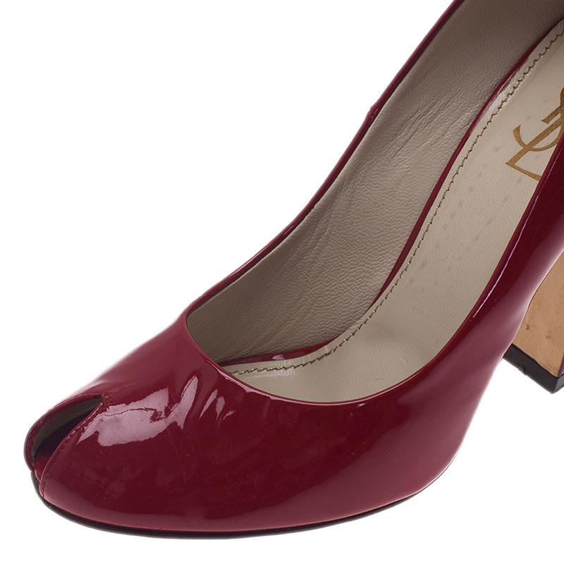 Saint Laurent Paris Red Patent Block Heel Peep Toe Pumps Size 37.5