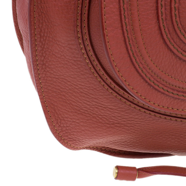 Chloe Orange Leather Large Marcie Shoulder Bag