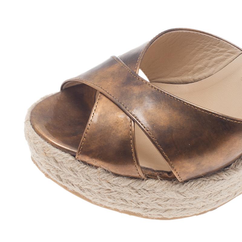 Jimmy Choo Metallic Gold Leather and Espadrille Perfume Wedge Slides Size 38
