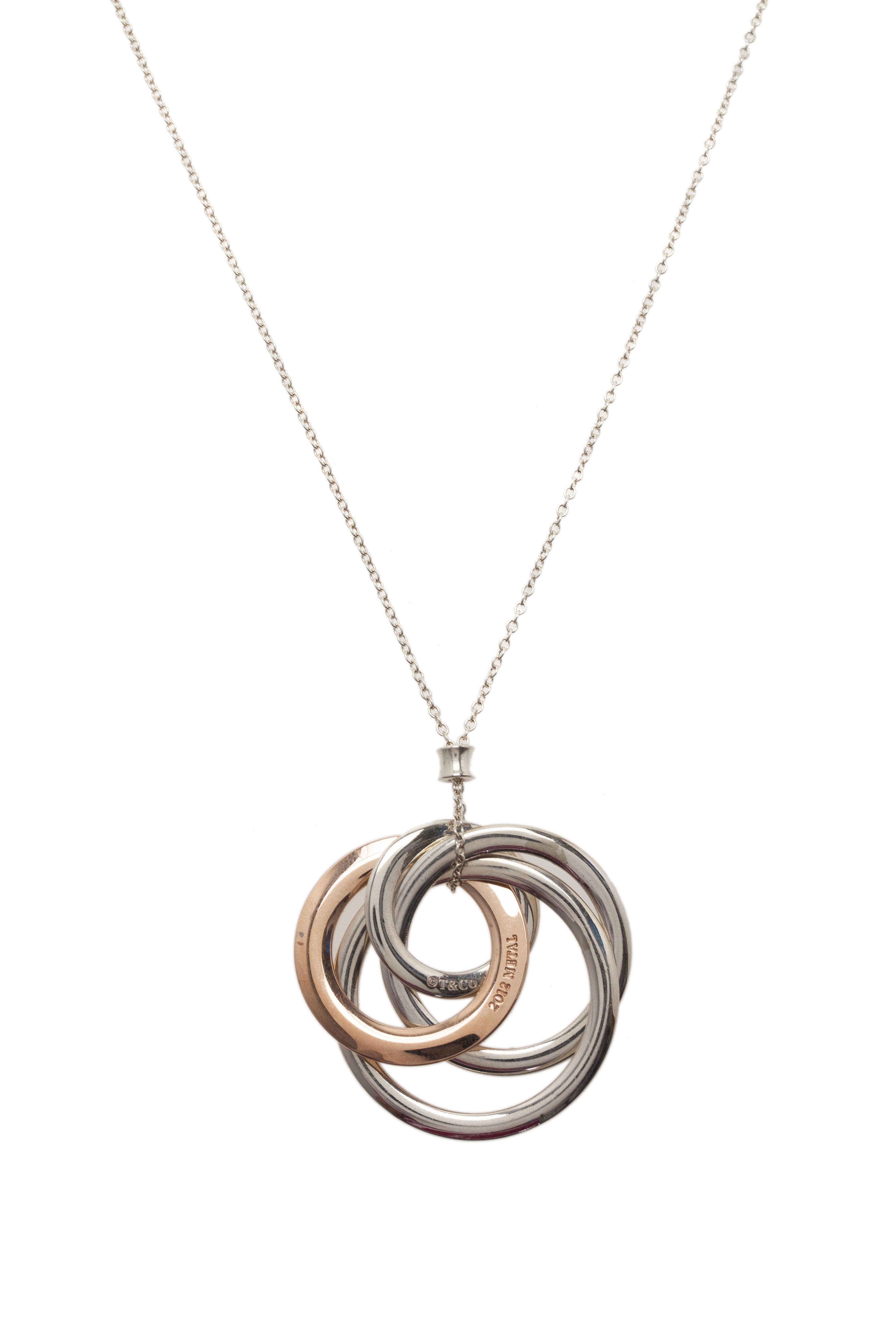 Tiffany & Co. 1837 Interlocking Circles Sterling Silver and Rubedo Pendant Necklace