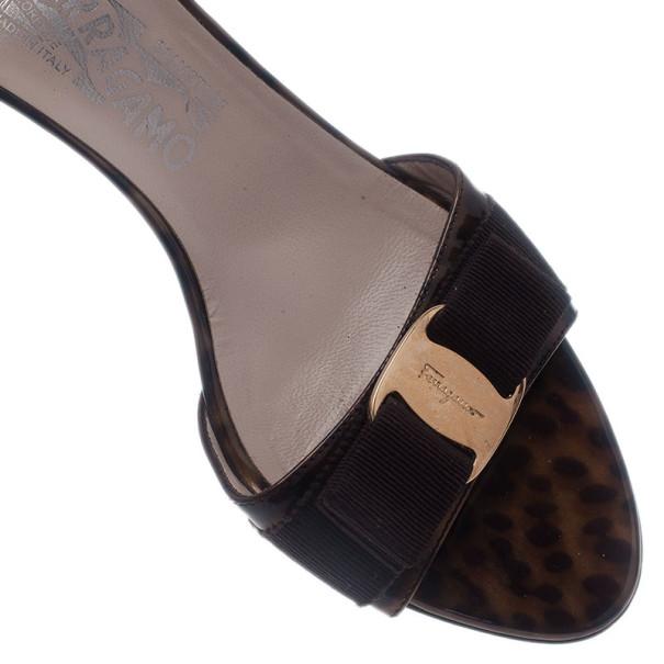 Salvatore Ferragamo Brown Glory Bow Slides Size 37