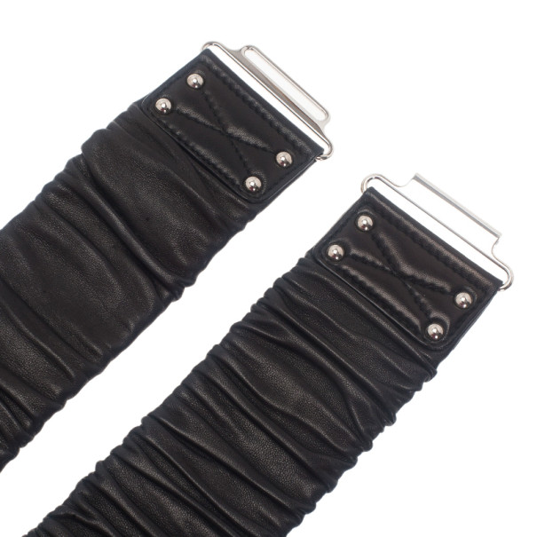 Miu Miu Black Leather Waist Belt 90CM