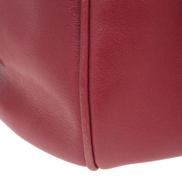Tod's Red Leather Top Handle Front Pocket Satchel