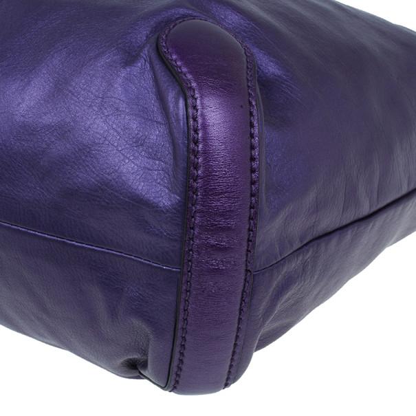 Gucci Metallic Purple Leather Galaxy Hobo