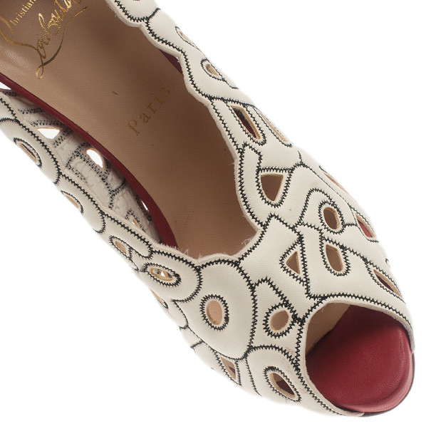 Christian Louboutin Tricolor Tell Me Cutout Pumps 40.5