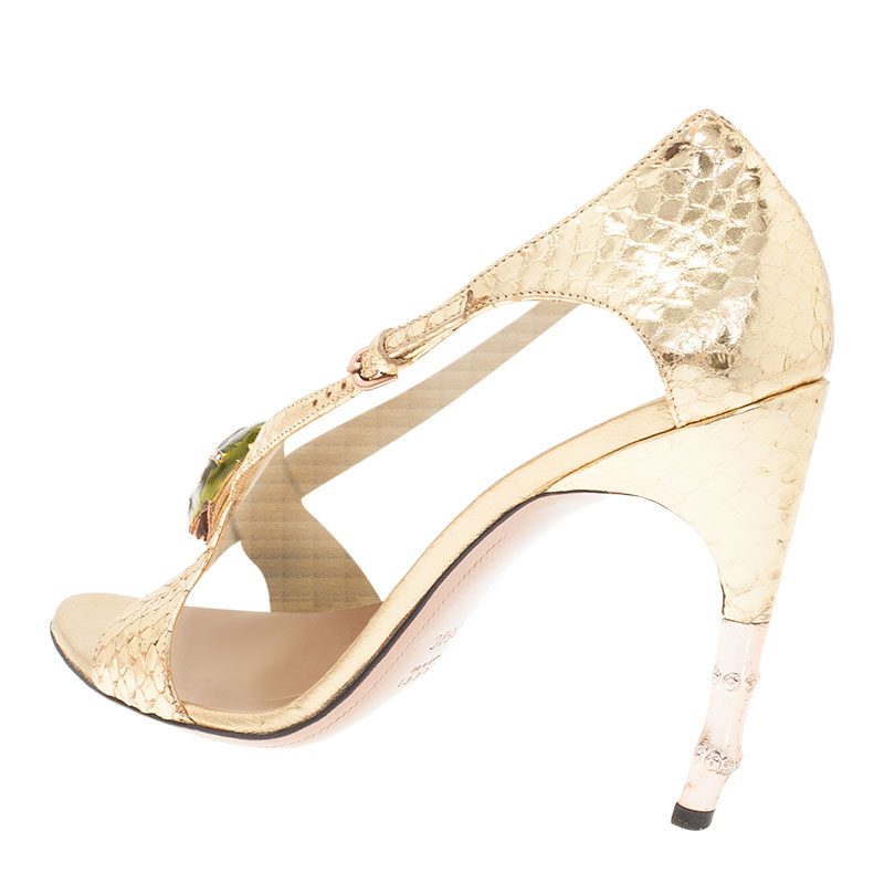 Gucci Metallic Gold Python Jeweled Bamboo Heel Sandals Size 38.5