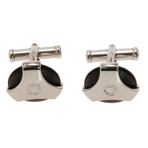 Montblanc Silver Obsidian Cufflinks