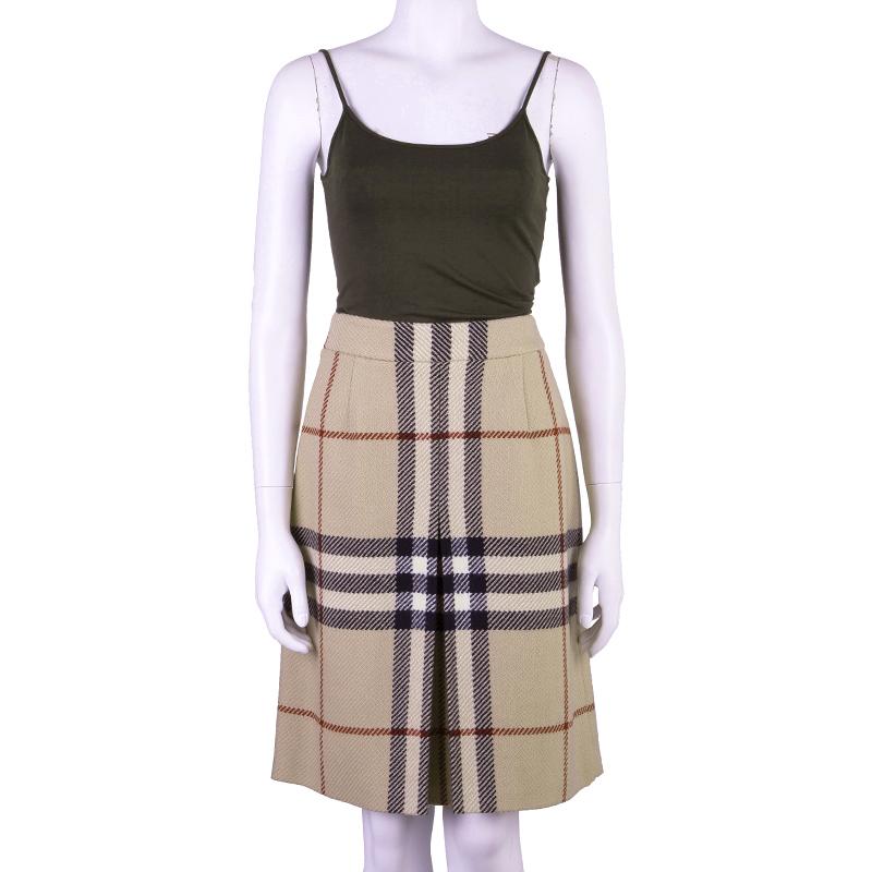 Burberry London Beige Nova Check Wool Skirt S